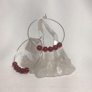 CARNELIAN Gemstone Hoop Earrings- NEW